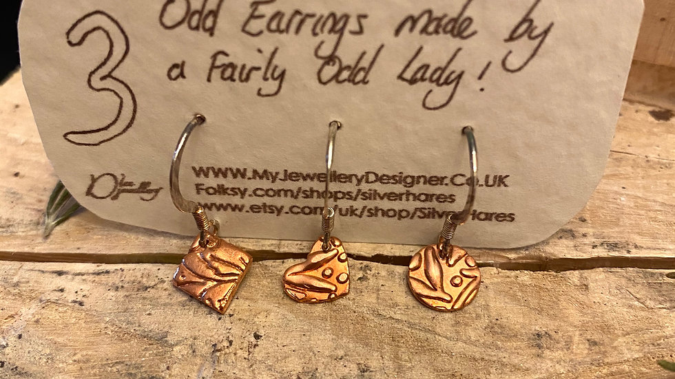 Three Odd Earrings - Copper Textured Drop FW