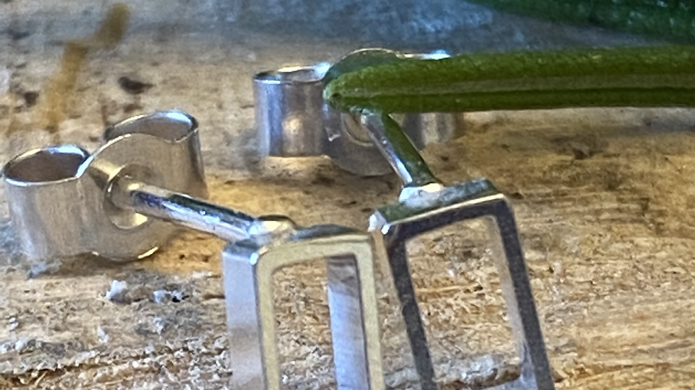 Rectangular Simple Silver Stud Earrings  £10
