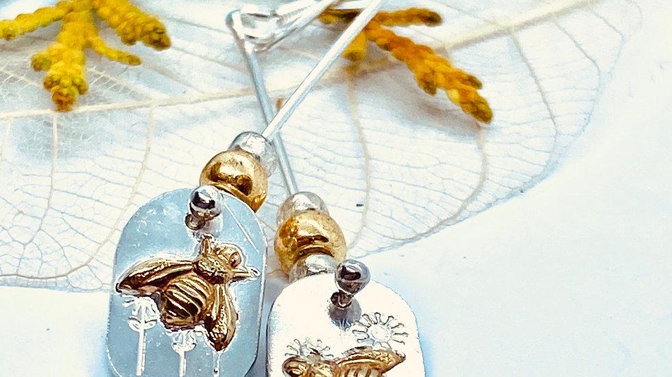 Bee Mis-Matched Drop Earrings