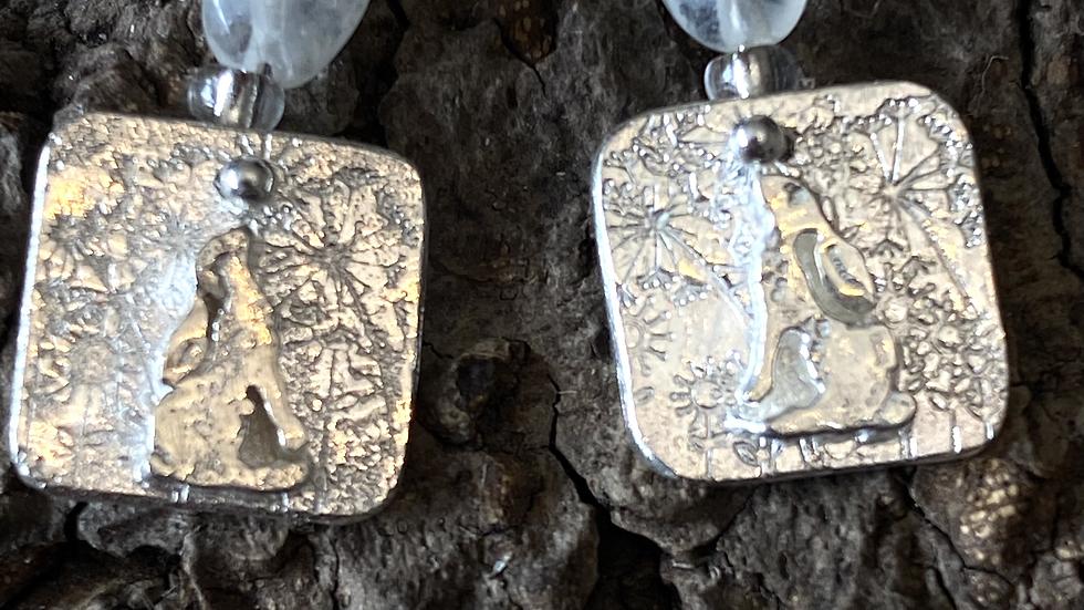 Moonstone Gazing Hare Long Drop  Silver Earrings