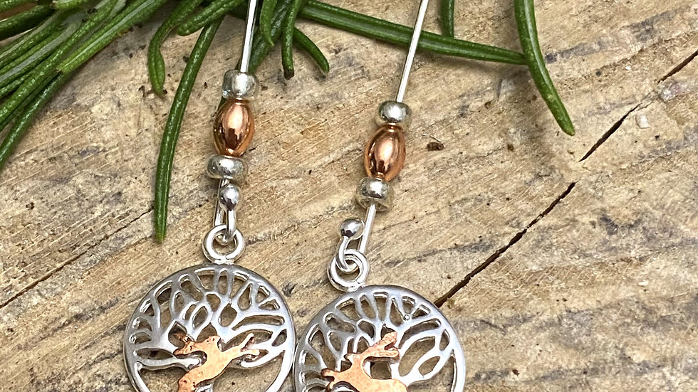 Earrings boxing Hares Tree of Life Drop Earrings  Silver and copper