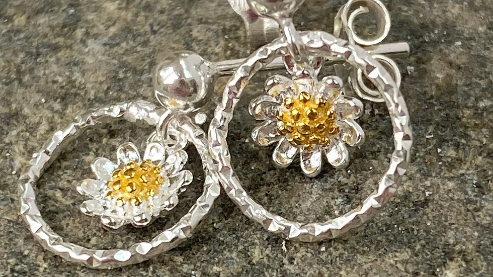 Tiny Daisy Drop Gold and  Silver Earrings F&W