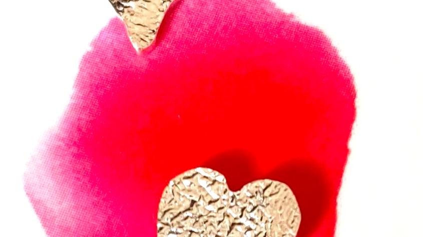 Earrings - Silver Studs Asymetrical Hearts FWM