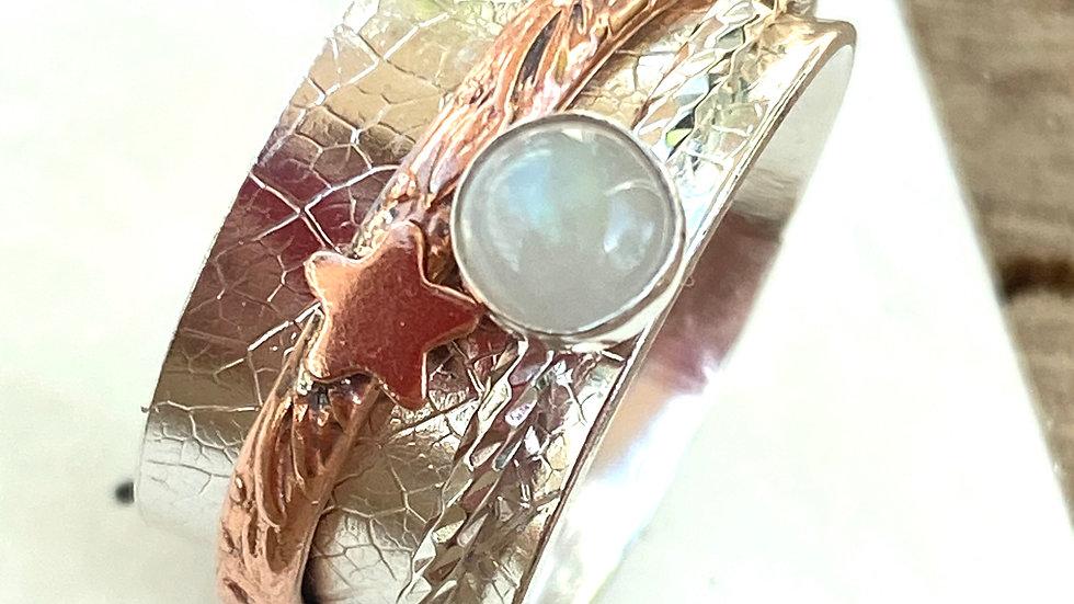 Moonstone 'Same Stars'  Spinning Ring Size O