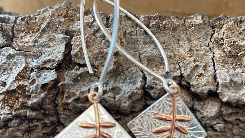 Earrings Botanics Drop Silver Copper Earrings F&W