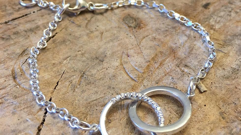Circles Bracelet Silver & CZ crystal detail