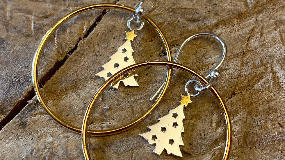 Xmas Tree Big Hug Drop Gold and  Silver Earrings F&W