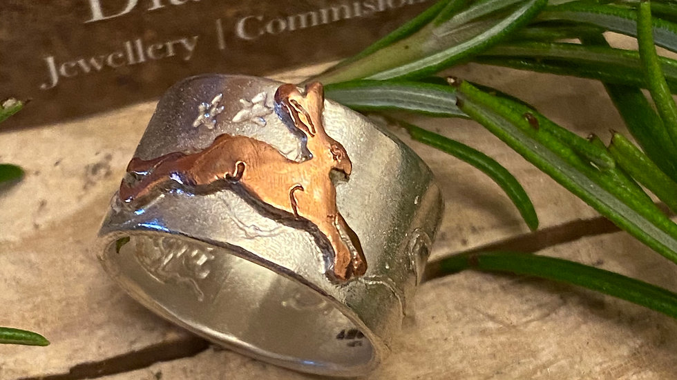 Hare Ring © -Sterling Silver & Copper Size N