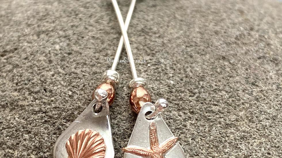 Earrings Seashore Long Drop Mis-Matched Silver Copper Earrings F&W