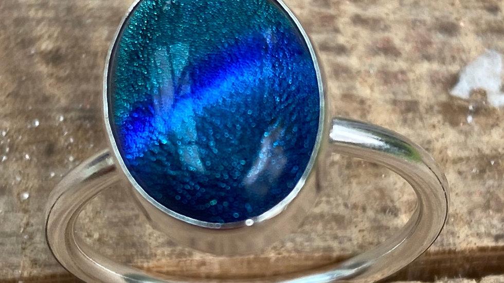 Blue Green Azure Stone Set Silver Stacking Ring