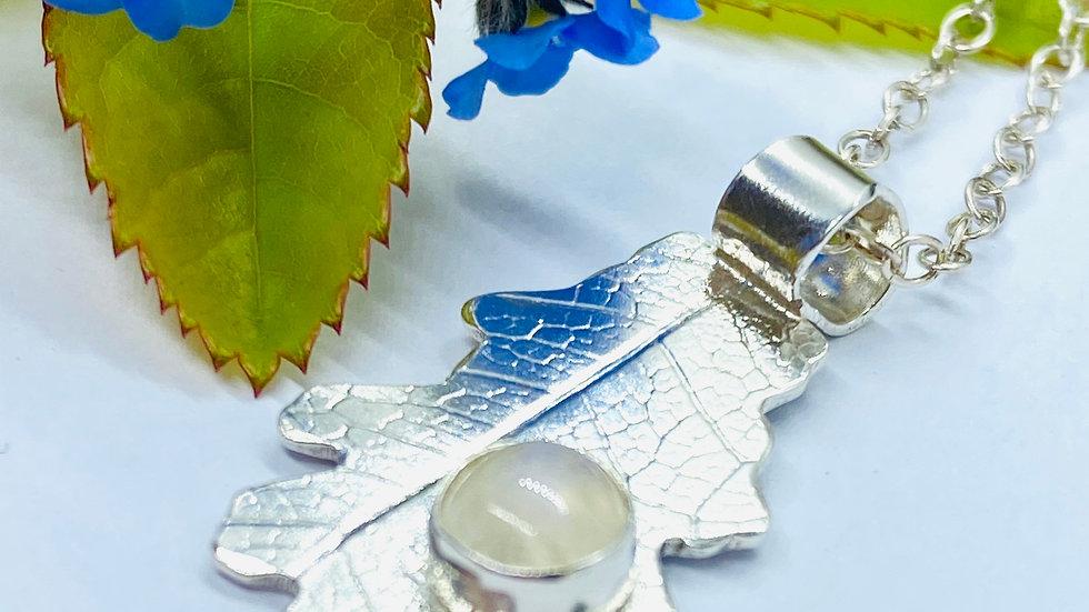 Silver Moonstone Oakleaf Necklace