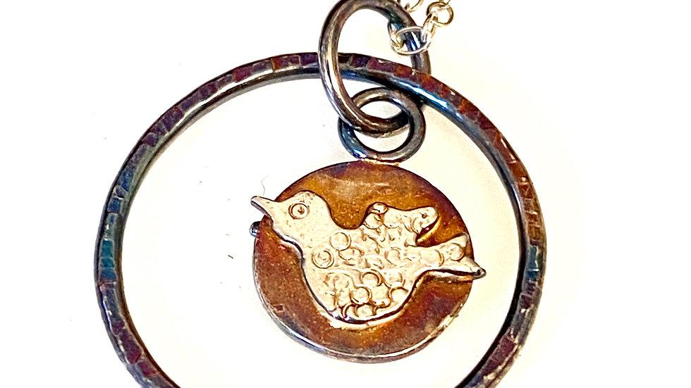 Little Bird Oxidised Silver Pendant © (W)