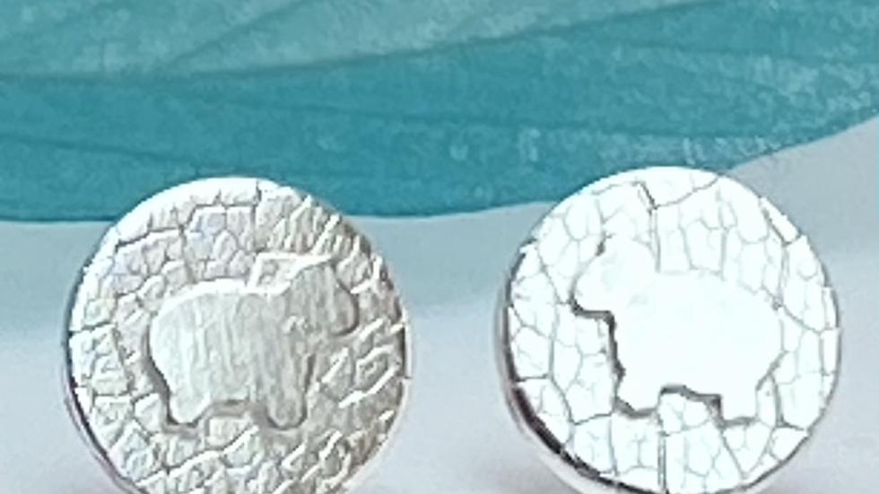 Sheep Stud Earrings  Sterling Silver Stud Post Earrings.
