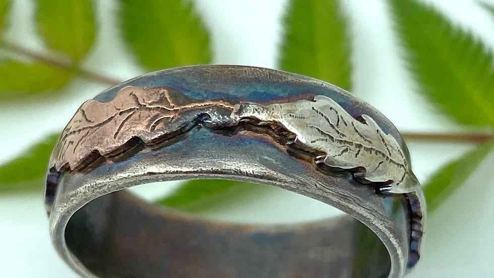Oak Leaf Ring in Oxidised Silver with copper leaf detail size V