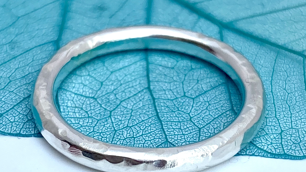 Hammered Halo Heavy Ring in Silver - made to order