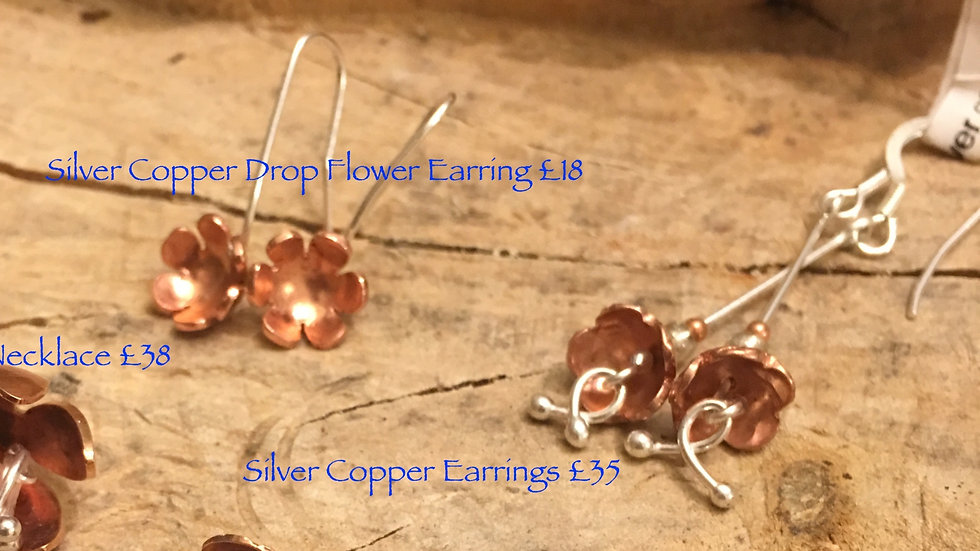 Copper Silver Flower Series Earrings