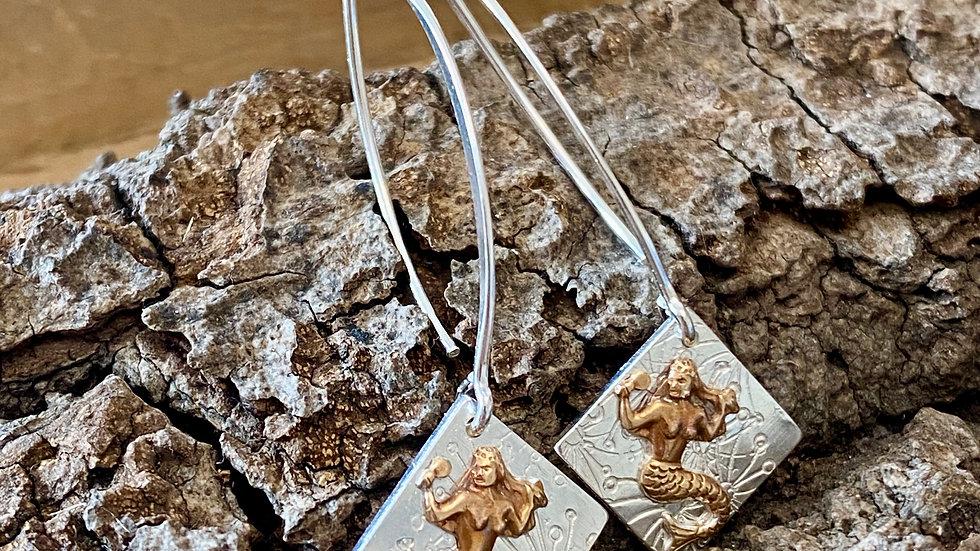 Earrings Mermaid Drop Silver Copper Earrings F&W