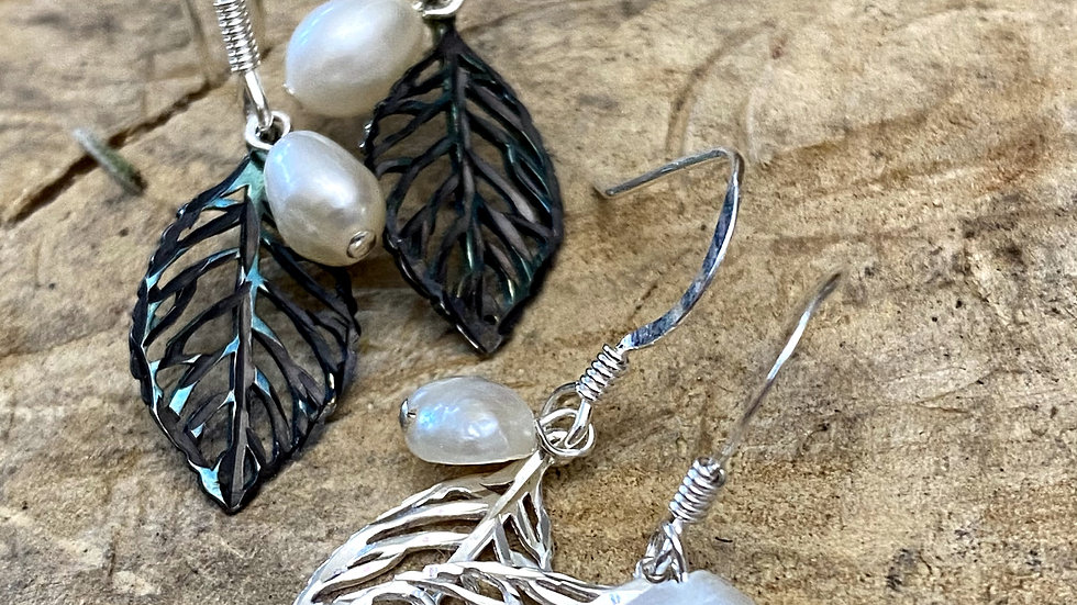 Pearl and Leaf Drop Earrings