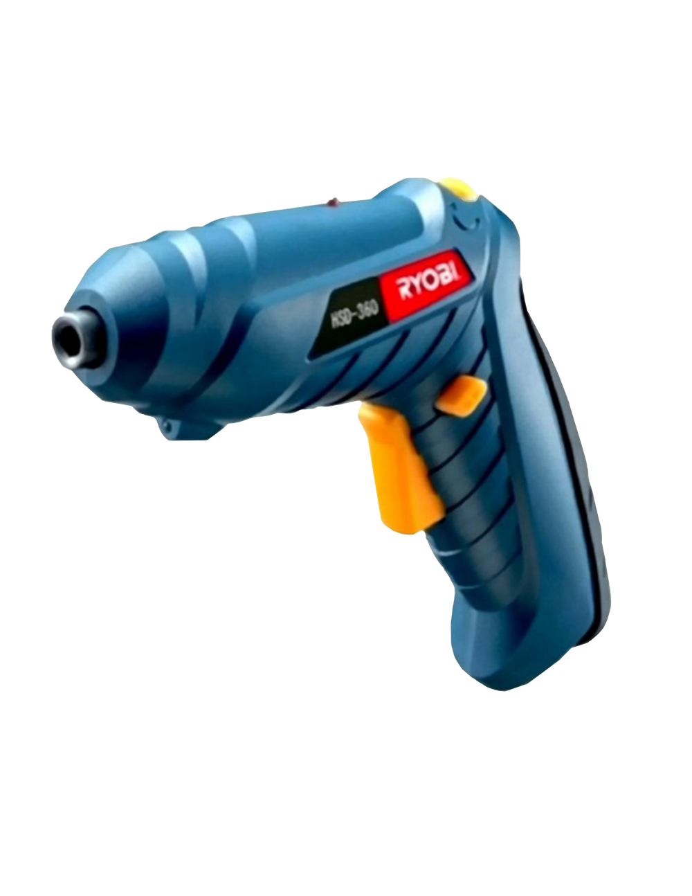 A blue screw driver with yellow buttons that has a Ryobi Logo on it