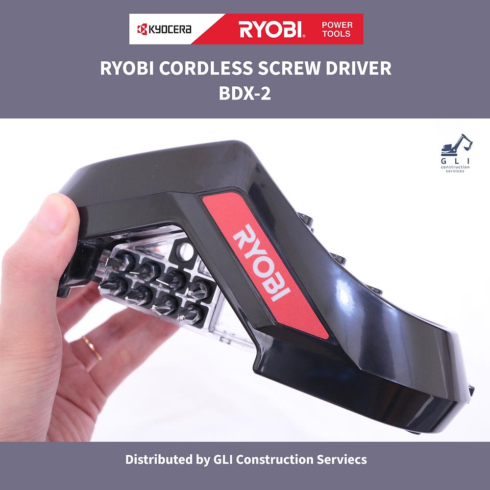 Ryobi Power Tools black charging dock with screwdriver bits
