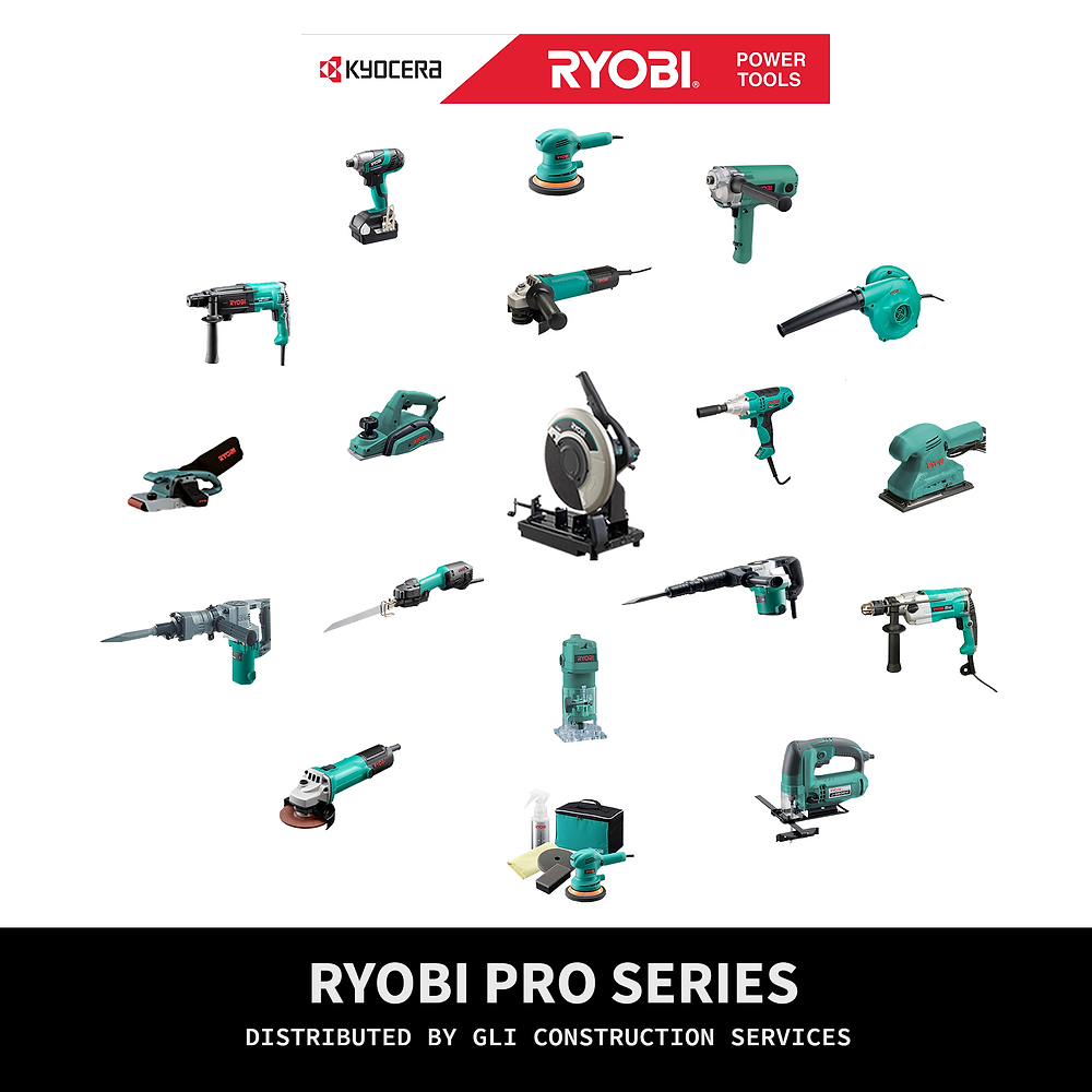 Multiple Ryobi blueish green power tools placed in a circle