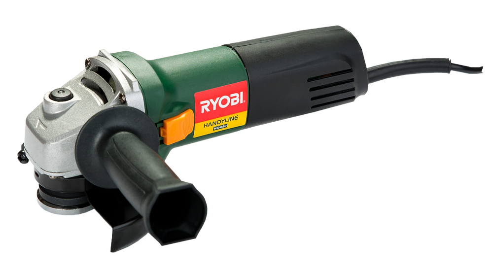 A green grinder with black accents and a ryobi logo on it