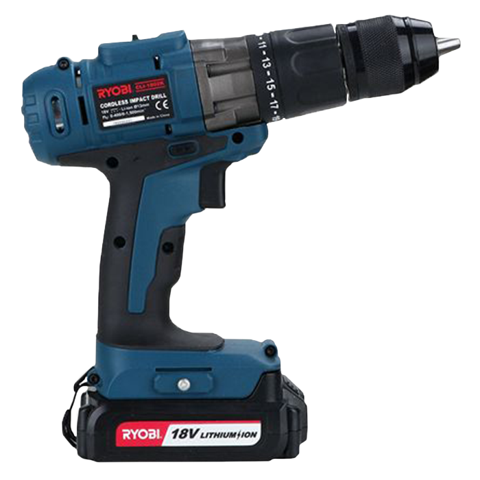 Black and blue Cordless Impact Drill with Ryobi Power Tools logo