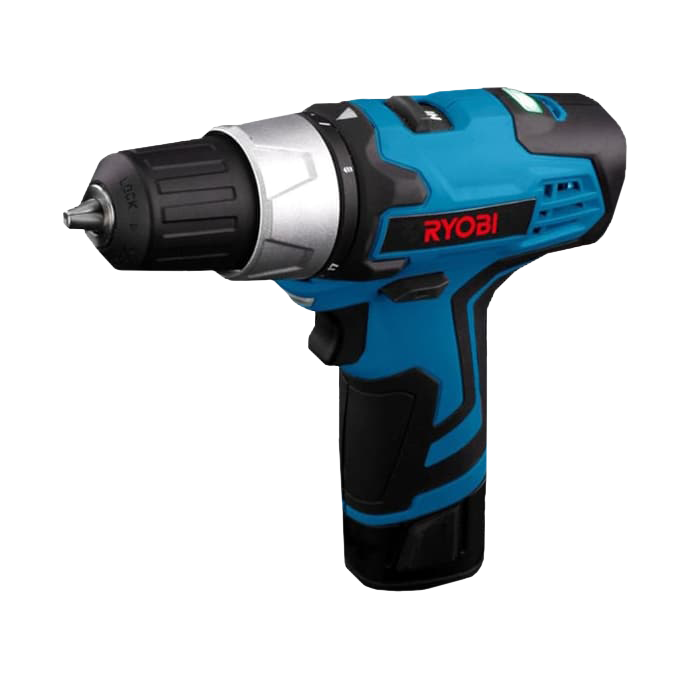 Blue driver drill with black accents and the Ryobi Logo on it