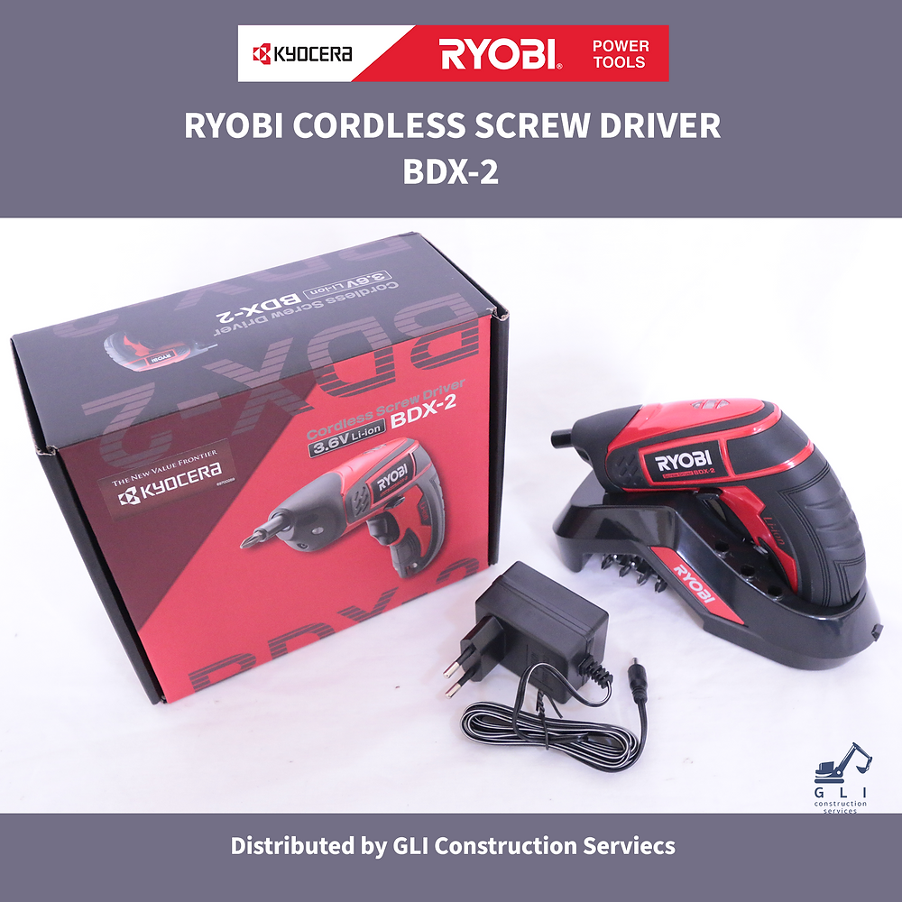 Ryobi Power Tools red and black box. Black and red cordless screwdriver. Black charging dock with screw bits. Black screwdriver charger