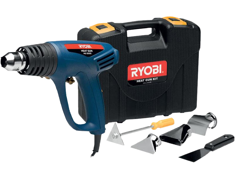 Blue Heat Gun and accessories with Ryobi Power Tools