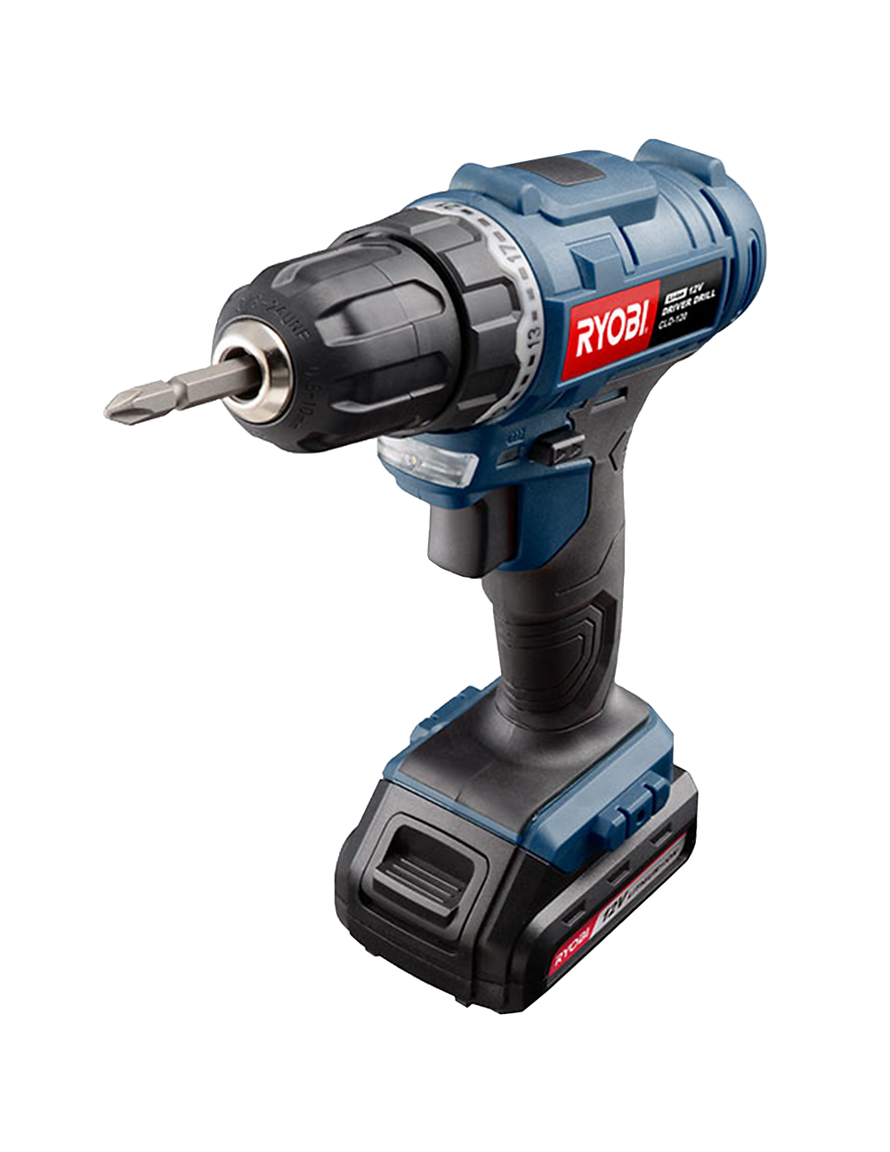 Black and Blue Driver Drill with Ryobi Power Tools logo