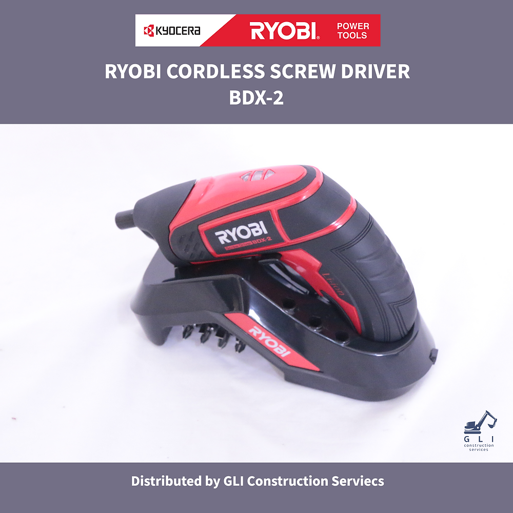Ryobi Power Tools black and red Cordless screw driver sitting on a black charging dock