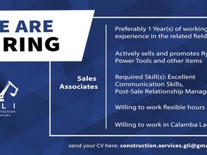 Now Hiring - Sales Associate!