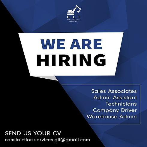 GLI Construction Services, we are hiring, sales associates, admin assistant, technicians, company driver, warehouse admin, send us your cv, construction.services.gli@gmail.com