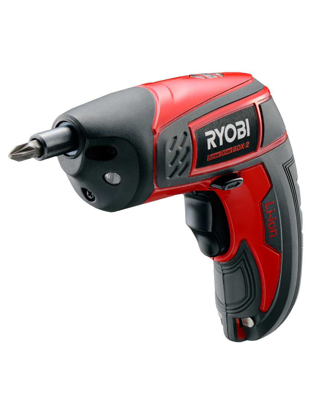 A red screw driver that has a Ryobi Logo on it
