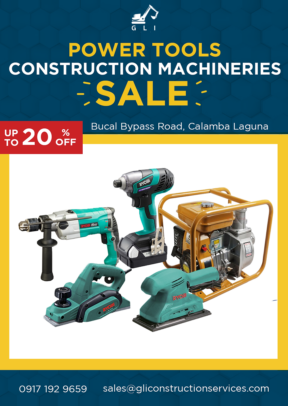 Power Tools construction machineries for sale, up to 20% off, bucal bypass road, calamba laguna, 0917 192 9659 sales@gliconstructionservices.com, multiple tools