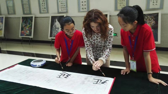 Calligraphy with students