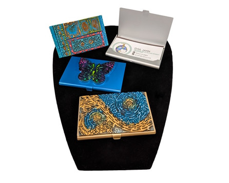 Polymer clay, surface treatments, metal card case