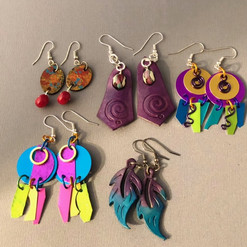Leather /metal & Lampwork Earrings