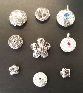 Silver Metal Clay Lentil (domed) Beads