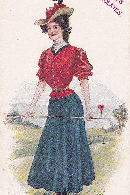 Golf Art/ladies Fashion PC,Chocolate Ad Card C.1905-10 Ref.2017a