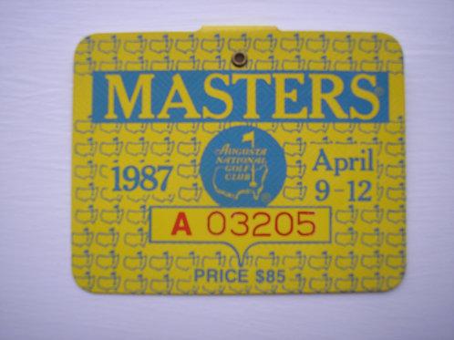1987 Larry Mize Signed Masters Badge Ref.USMB.060 C.1987