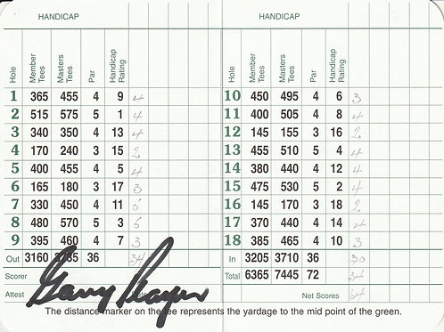 Gary Player Hand Signed Masters Card Ref.GM 267