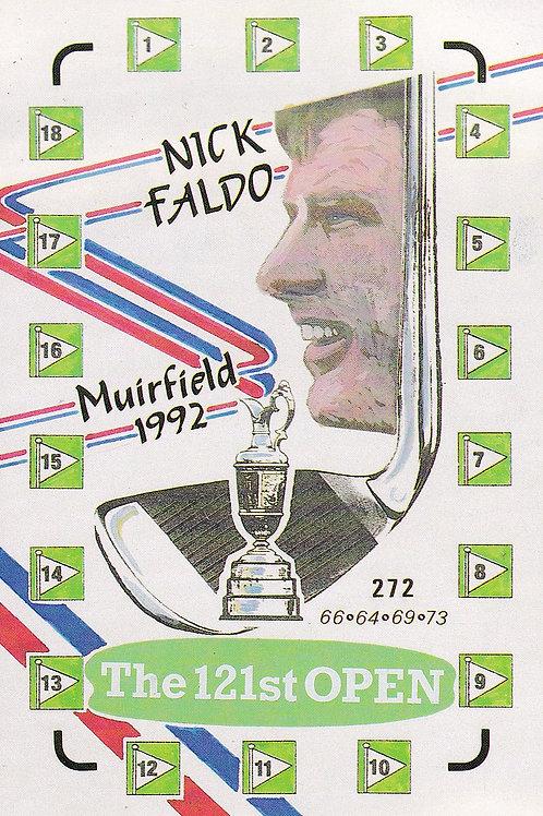 Nick Faldo 1992 Victory Stats. Ref 387 C.1992