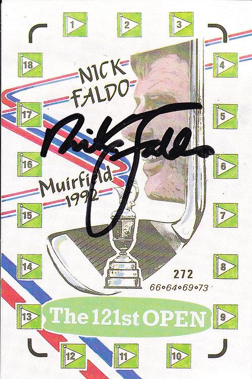 Nick Faldo SIGNED PC Ref.895 C.1992