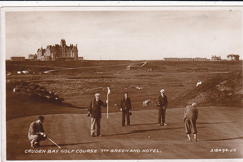 SOLD>Ref.205.Cruden Bay Golf Links,7th Green & Hotel Ref.205 C.1930s