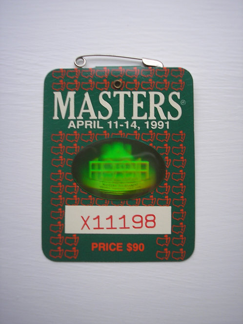 1991 Masters Badge Signed by Champion Ian Woosnam Ref.USMB.063