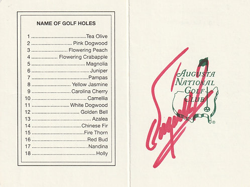 Fuzzy Zoeller Hand Signed Masters Card Ref.GM 277