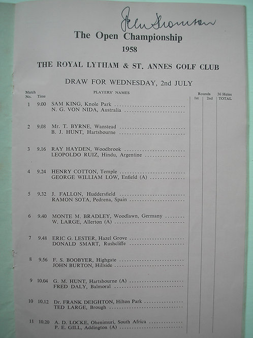 1958 British Open Programme SIGNED Ref.233