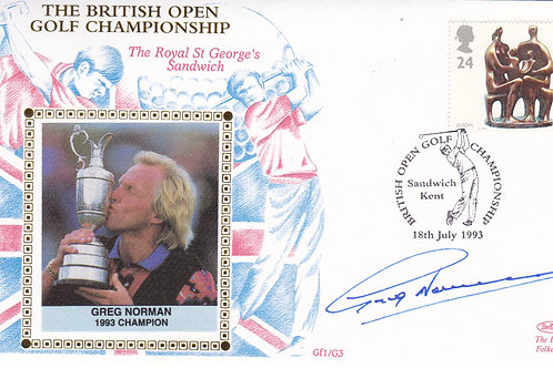 British Open SIGNED Silk 1st Day Cover C.1993